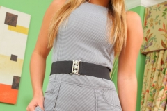 Samantha F Nice Boobs in Tight Grey Secretary Dress for Only Secretaries 006