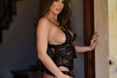 Sarah McDonald Big Boobs Black Basque and Stockings 03