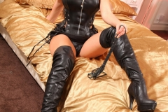 Sarah McDonald Big Boobs Black Leather Dress 04
