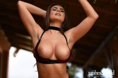 Sarah McDonald Big Boobs in a Red Velvet Bra 008