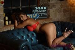 Sarah McDonald Big Boobs in an Orange Lacy Seethrough Bra 002