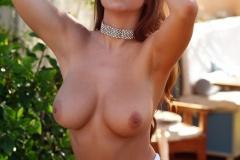Sarah McDonald Big Boobs in Pattern Print Bikini 012