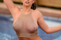 Sarah McDonald Big Boobs look good in Gold Mesh Top 001