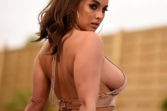 Sarah McDonald Big Boobs look good in Gold Mesh Top 004