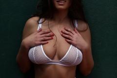 Sarah McDonald Big Boobs Sexy in White Mesh Bikini 006