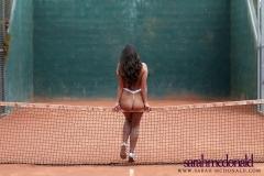 Sarah McDonald Big Boobs Sexy in White Mesh Bikini 012