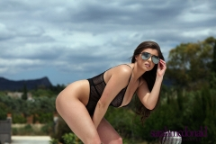 Sarah McDonald Big Boobs Sexy Mesh Swimsuit 001