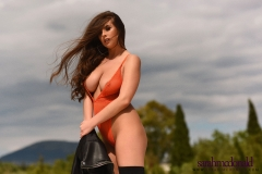 Sarah McDonald Big Boobs Swimsuit and Black Boots 010
