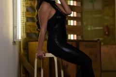 Sarah McDonald Big Breasts in Tight Shiny Stretchey Black Catsuit 006