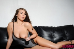 Sarah McDonald Big Tits on a Leather Sofa 01