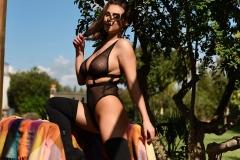 Sarah McDonald Big Tits Sexy Fishnet Bodysuit 003