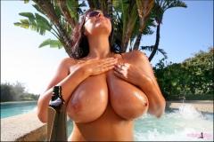 Sarah Nicola Randall Big Tits Yellow Bikini 11