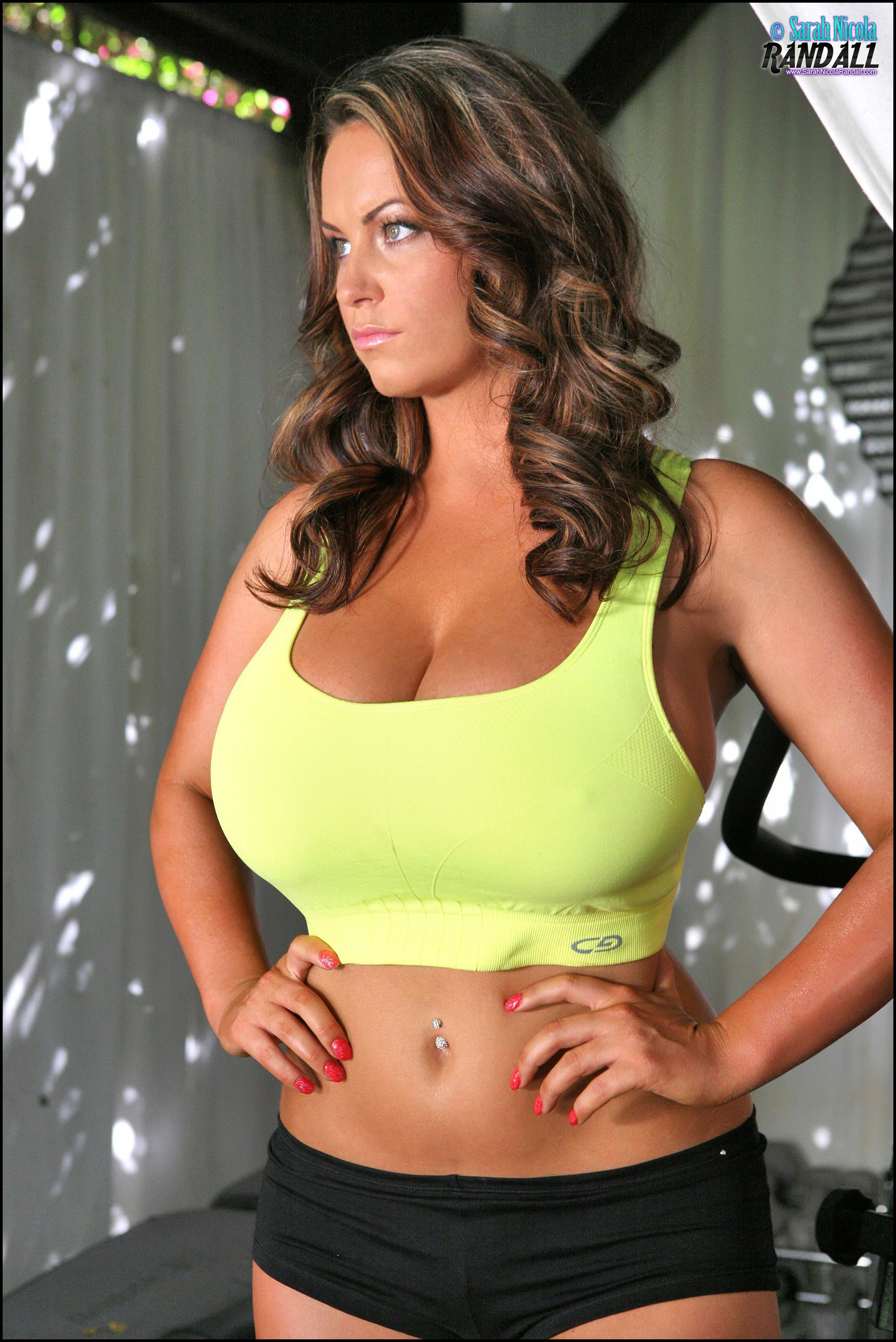 Sarah Nicola Randall Huge Boobs Glistening in Tight Yellow ...