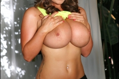 Sarah Nicola Randall Huge Boobs Glistening in Tight Yellow Workpout Top 010