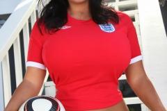 Sarah Nicola Randall Huge Breasts in Tight Football Kit 006