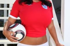 Sarah Nicola Randall Huge Breasts in Tight Football Kit 007