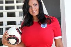Sarah Nicola Randall Huge Breasts in Tight Football Kit 009
