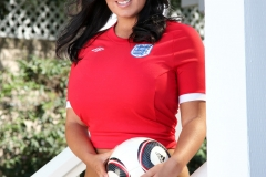 Sarah Nicola Randall Huge Breasts in Tight Football Kit 015