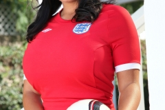 Sarah Nicola Randall Huge Breasts in Tight Football Kit 016