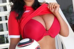 Sarah Nicola Randall Huge Breasts in Tight Football Kit 019