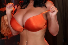Sarah Nicola Randall Huge Tits Orange Bra and Panties 007