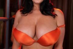 Sarah Nicola Randall Huge Tits Orange Bra and Panties 008