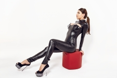 Sasha Red Big Boobs in Leather and Latex 004