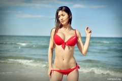 Sasha Red Big Tits in Red Bikini 003