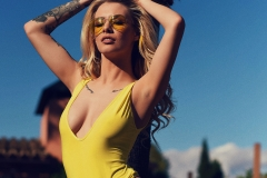 Saskia Valentine Big Breasts Tight Yellow Swimsuit in the Sunshine 001