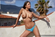 Savannah Big Boobs in Shiny Blue Bikini for Photodromm 002