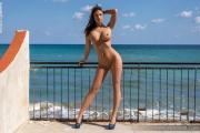 Savannah Big Boobs in Shiny Blue Bikini for Photodromm 005
