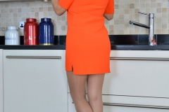 Sensual Jane Big Tits Come Out of Orange Dress 001
