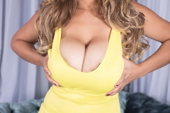 Shara Lopez Huge Boobs Bursting from a Yellow Dress 001