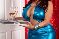Sheridan Love Huge Tits in Shiny Blue Minidress 001
