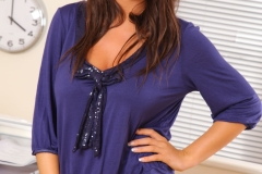 Stacey Poole Big Cleavage Blue Shirt Tiny Skirt 01