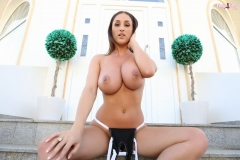 Stacey Poole Huge Boobs in Black Latex Swimsuit 010