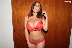 Stacey Poole Huge Boobs in Orange Bra 002