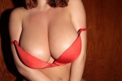 Stacey Poole Huge Boobs in Orange Bra 008
