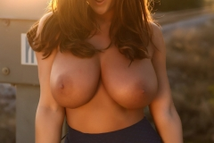 Stacey Poole Huge Boobs Sunset on a Railway Track 04