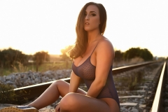 Stacey Poole Huge Boobs Sunset on a Railway Track 08