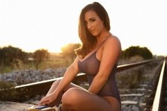 Stacey Poole Huge Boobs Sunset on a Railway Track 09