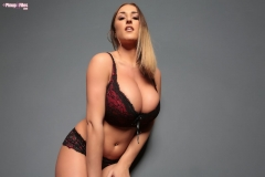 Stacey Poole Huge Tit Secretary in Burgundy Bra and Panties 004