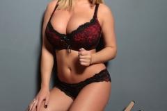 Stacey Poole Huge Tit Secretary in Burgundy Bra and Panties 005