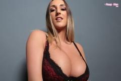 Stacey Poole Huge Tit Secretary in Burgundy Bra and Panties 006