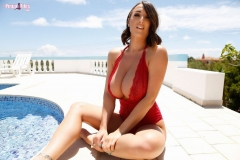 Stacey Poole Huge Tits in Red Swimsuit 004