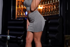 Stacey Robyn Big Tit Grey Checked Top and Skirt 01
