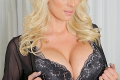 Stormy Daniels Big Boobs Black Bra Panties and Stockings 001