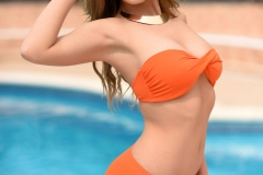 Summer St Claire Big Boobs in Orange Bikini by the Pool 02