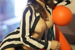 Sunny Leone Big Tits Stripey Umpire Jersey 13