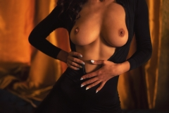 Suzanna Big Boobs Black Sheer Catsuit for Photodromm 003